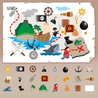 Pirate icon set flat desain vectorillustratie
