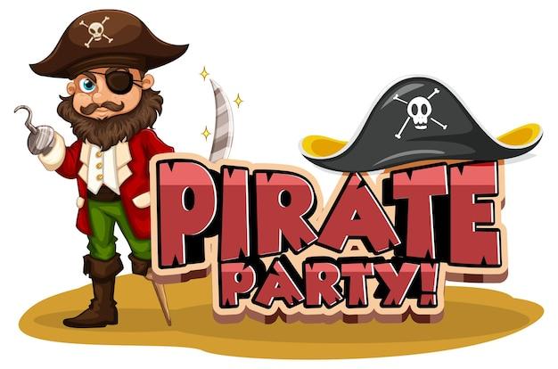 Pirate party-lettertypebanner met een stripfiguur van een piratenman