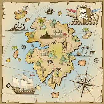 Pirate treasure island vector kaart. zeeschip, avontuurlijke oceaan, schedel en papier, navigatiekunst en kanonillustratie