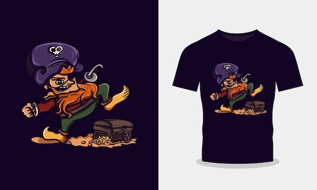 Piraten die op het ontwerp van de schatt-shirt stappen