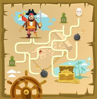 Piraten doolhof labyrint spel cartoon afbeelding