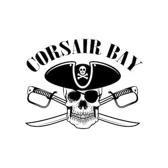 Piraten. embleemmalplaatje met zwaarden en piraatschedel. element voor logo, label, embleem, teken. illustratie