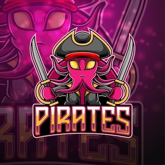 Piraten esport mascotte logo ontwerp