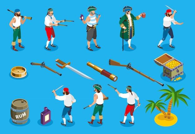 Piraten isometrische pictogrammen