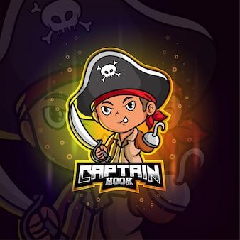 Piraten kapitein haak mascotte esport kleurrijk logo