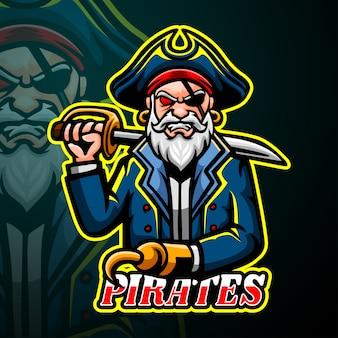 Piraten mascotte esport logo ontwerp