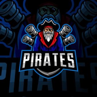 Piraten mascotte logo esport gaming illustratie