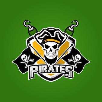 Piraten mascotte sport esport logo ontwerp