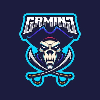 Piraten schedel logo mascotte