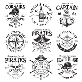 Piraten set vintage emblemen