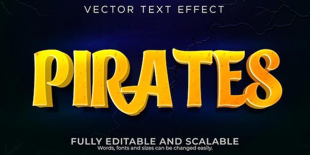 Piraten-teksteffect, bewerkbare cartoon en komische tekststijl