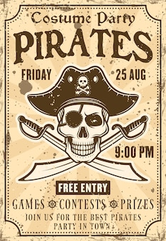 Piraten uitnodigingsaffiche voor kostuumfeest met schedel in hoed en gekruiste sabelsillustratie