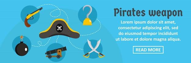 Piraten wapen banner sjabloon horizontale concept