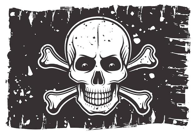 Piraten zwarte vlag waarop illustratie van doodshoofd met gekruiste beenderen is afgebeeld