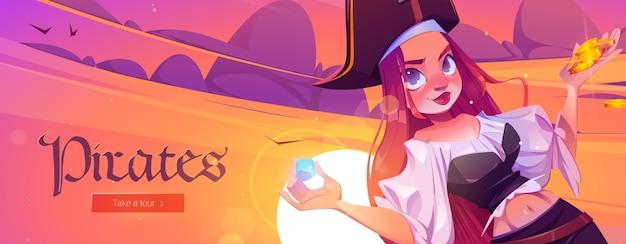 Piratenbanner met meisjeskapitein en schatkist met gouden munten op zeestrand bij zonsondergang