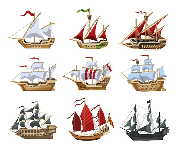 Piratenboten en oude verschillende houten schepen met fladderende vlaggen