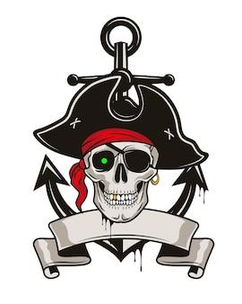 Piratenembleem met anker en schedel in een hoed en ooglapje