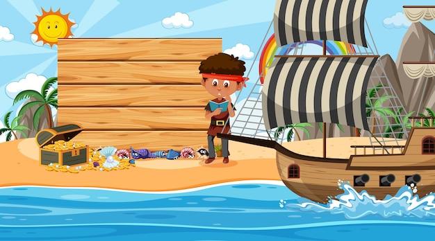 Piratenkinderen op het strand overdag met een lege bannersjabloon