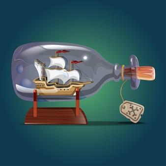 Piratenschip in een fles. zeilambachten. miniatuurmodellen van zeeschepen. hobby en zee thema. vectorillustratie.