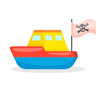 Piratenschip kinderspeelgoed pictogram geïsoleerd op een witte achtergrond voor uw ontwerp