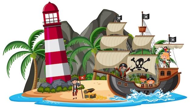 Piratenschip op het eiland met veel kinderen geïsoleerd op een witte achtergrond