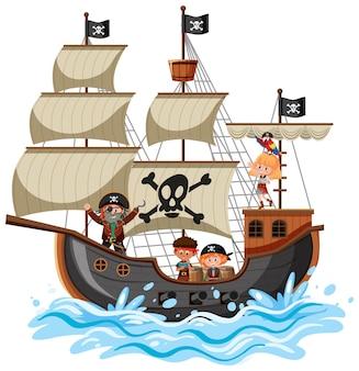 Piratenschip op oceaangolf met veel kinderen geïsoleerd op een witte achtergrond