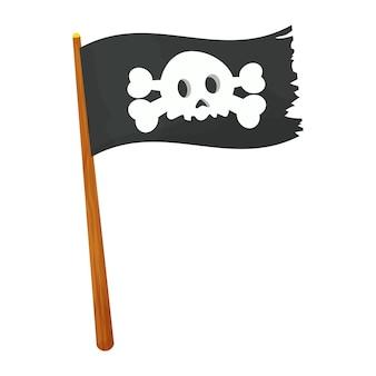Piratenvlag met schedel en gekruiste beenderen op houten stok in cartoonstijl