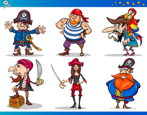 Pirates cartoon characters set