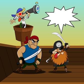 Pirates crew klaar om de vijand aan te vallen