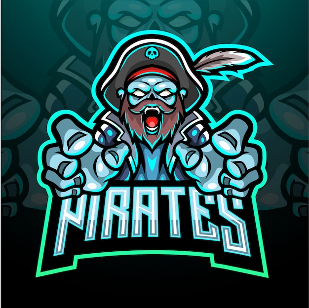 Pirates esport logo mascotte ontwerp