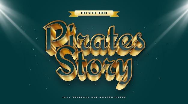 Pirates story-tekst in blauwe en gouden stijl met 3d-effect