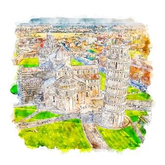 Pisa italië aquarel schets hand getrokken illustratie