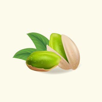 Pistachenoten met bladeren. realistische pistachepitten