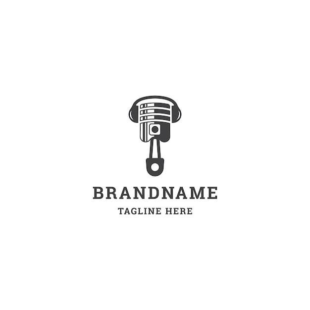 Piston muziek logo. vlakke stijl logo-ontwerp
