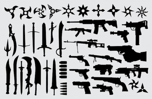 Pistool, pistool, zwaard en messensilhouet