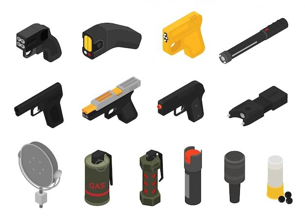 Pistool vector militair niet-dodelijk wapen granaat-pistool leger pistool en oorlog automatisch vuurwapen met kogel set