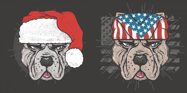 Pit bull hond kerstmis en vs amerikaanse hond vector