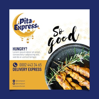Pita express restaurant dus een goede vierkante flyer