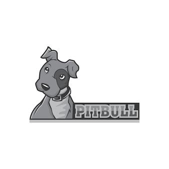 Pitbull hond mascotte logo