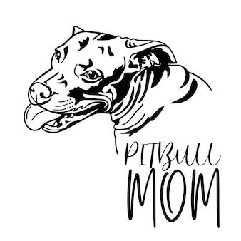 Pitbull hond, pitbull moeder tekst, zwarte silhouet tekening, vectorillustratie.