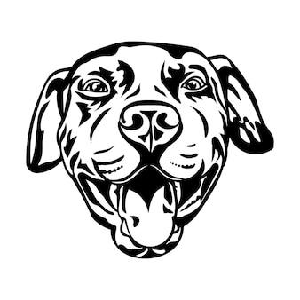 Pitbull hond, zwarte silhouet tekening, vectorillustratie.