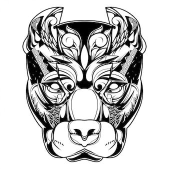 Pitbull hondillustratie, tatoegering en t-shirtontwerp