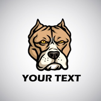 Pitbull hoofd logo vector illustratie pictogram emlem sjabloon