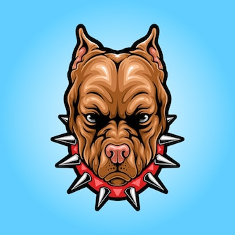 Pitbull hoofd mascotte logo