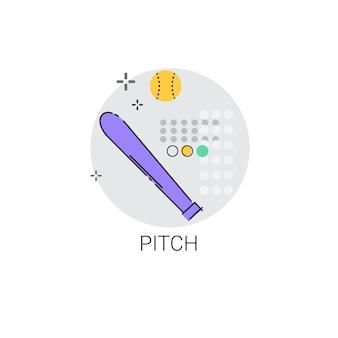Pitch bat sport game pictogram vectorillustratie