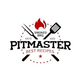 Pitmaster barbecue logo stempel vectorafbeelding