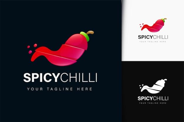 Pittig chili-logo-ontwerp met verloop
