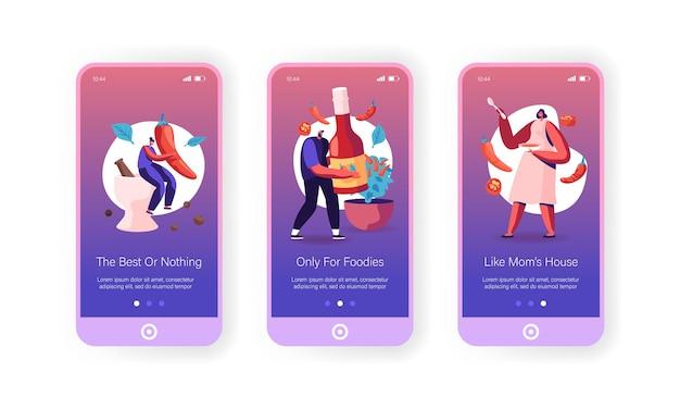 Pittig eten, mexicaanse keuken kruiden mobiele app-pagina onboard-schermsjabloon.