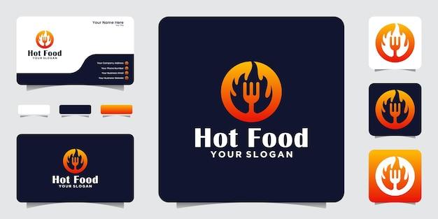 Pittig voedsellogo met negatieve ruimtevork en heet vuurontwerp en visitekaartje