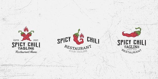 Pittige chili logo ontwerp sjabloon vector, chili peper, hete chili, rode chili, pittig eten